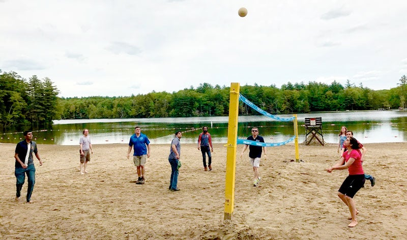 MSE students and faculty playing volleyball